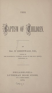 Cover of: The baptism of children