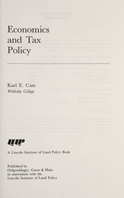 Cover of: Economics and tax policy