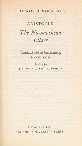 The Nicomachean ethics by Aristotle