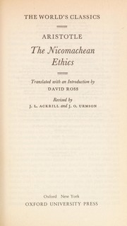 Cover of: The Nicomachean ethics | Aristotle