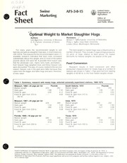Cover of: Optimal weight to market slaughter hogs