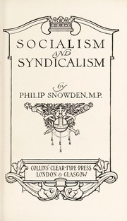 Cover of: Socialism & syndicalism