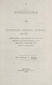 Cover of: A directory of Jefferson County, Indiana | Thomas V. Webb