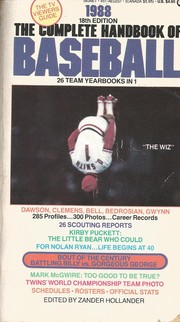 Cover of: The Complete Handbook of Baseball 1988 by Zander Hollander
