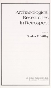 Cover of: Archaeological researches in retrospect