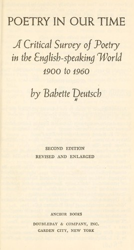 Poetry in our time, a critical survey of poetry in the English-speaking world, 1900 to 1960 by