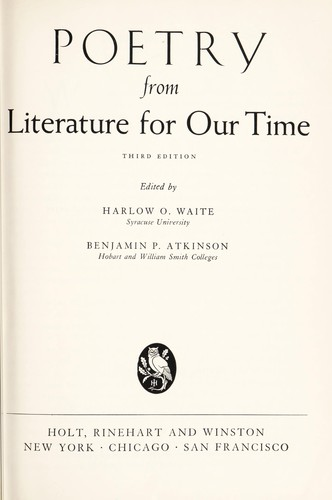 Poetry from Literature for our time by Harlow O. Waite