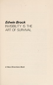 Cover of: Invisibility is the art of survival