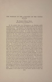 Cover of: The position of the judiciary in the United States