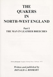 Cover of: The Quakers in north-west England | Donald A. Rooksby