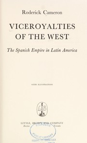 Cover of: Viceroyalties of the West | Roderick William Cameron