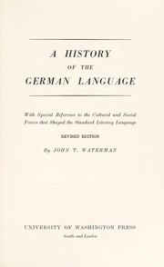 Cover of: A history of the German language | John T. Waterman