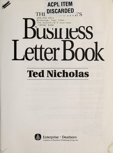 The executive's business letter book by Ted Nicholas