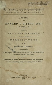 Cover of: Letter of Edward L. Pierce, esq., of Chicago