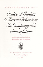 Cover of: George Washington's rules of civility & decent behaviour in company and conversation