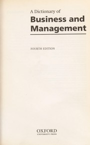 Cover of: A dictionary of business and management. |