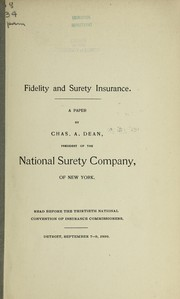 Cover of: Fidelity and surety insurance | Chuck Dean