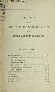 Cover of: Report upon the financial and business affairs of the Oregon improvement company | Thomas L. Greene