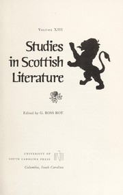 Cover of: Studies in Scottish literature, v.13 | edited by G. Ross Roy.