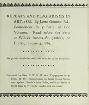 Cover of: Repeats and plagiarisms in art, 1888. | James Orrock