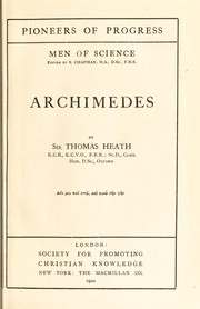Cover of: Archimedes | Heath, Thomas Little Sir