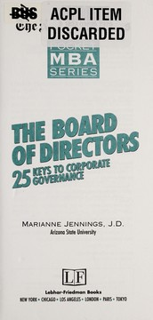 Cover of: The board of directors | Marianne Jennings