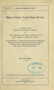 Cover of: Motor vehicle truck route service | United States. Post Office Department
