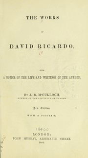 Cover of: The works of David Ricardo ...