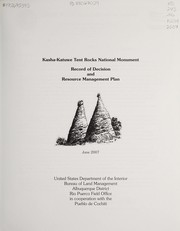Cover of: Kasha-Katuwe Tent Rocks National Monument | United States. Bureau of Land Management. Rio Puerco Resource Area