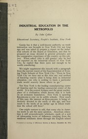 Cover of: Industrial education in the metropolis