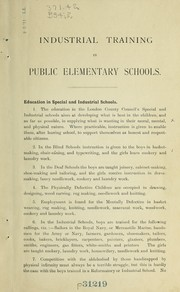 Cover of: Industrial training in public elementary schools