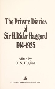 Cover of: The private diaries of Sir H. Rider Haggard, 1914-1925