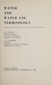 Cover of: Water and water use terminology
