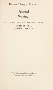 Cover of: Selected writings: Edited and with an introd. by John Clive & Thomas Pinney.
