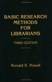 Cover of: Basic research methods for librarians | Ronald R. Powell