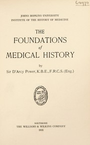 Cover of: The foundations of medical history