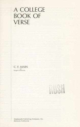 A college book of verse by C. F. Main