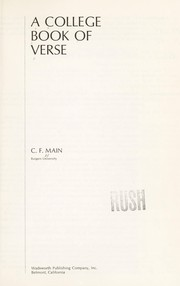 Cover of: A college book of verse | C. F. Main