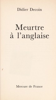 Cover of: Meurtre a   l'anglaise