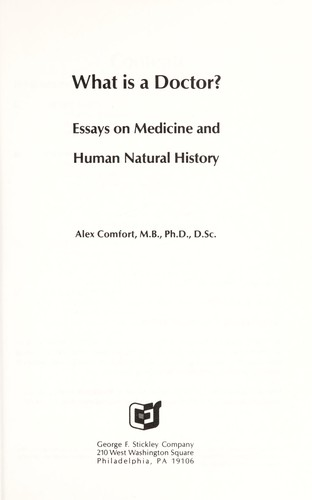 General Essay Topics In English Essays On Medicine And Human Natural History Examples Of Thesis Essays also Essay Tips For High School What Is A Doctor  Essays On Medicine And Human Natural History  Proposal Essay Example