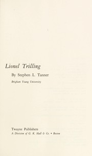 Cover of: Lionel Trilling