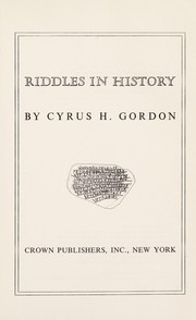Cover of: Riddles in history