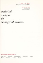 Cover of: Statistical analysis for managerial decisions | Johannes Cornelius Gerardus Boot