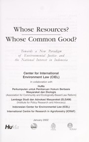 Cover of: Whose resources? whose common good? | Owen J. Lynch