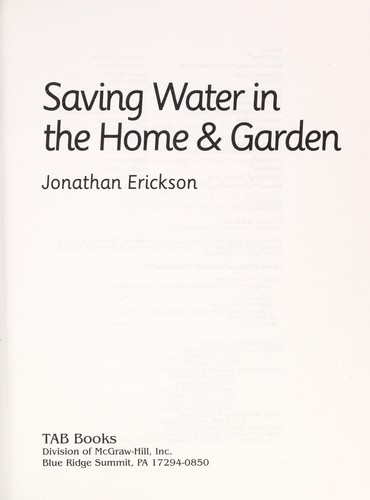 Saving water in the home & garden by Jonathan Erickson