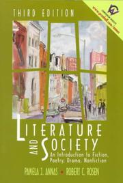 Cover of: Literature and society