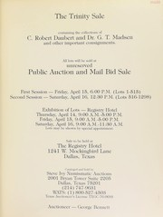 Cover of: The Trinity sale, containing the collections of C. Robert Daubert and Dr. G.T. Madsen ... | Ivy, Steve (Dallas, TX)