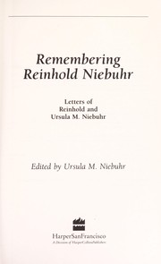 Cover of: Remembering Reinhold Niebuhr
