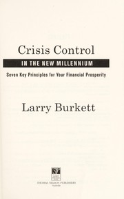 Cover of: Crisis control in the new millennium