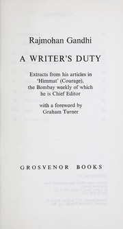 Cover of: A writer's duty
